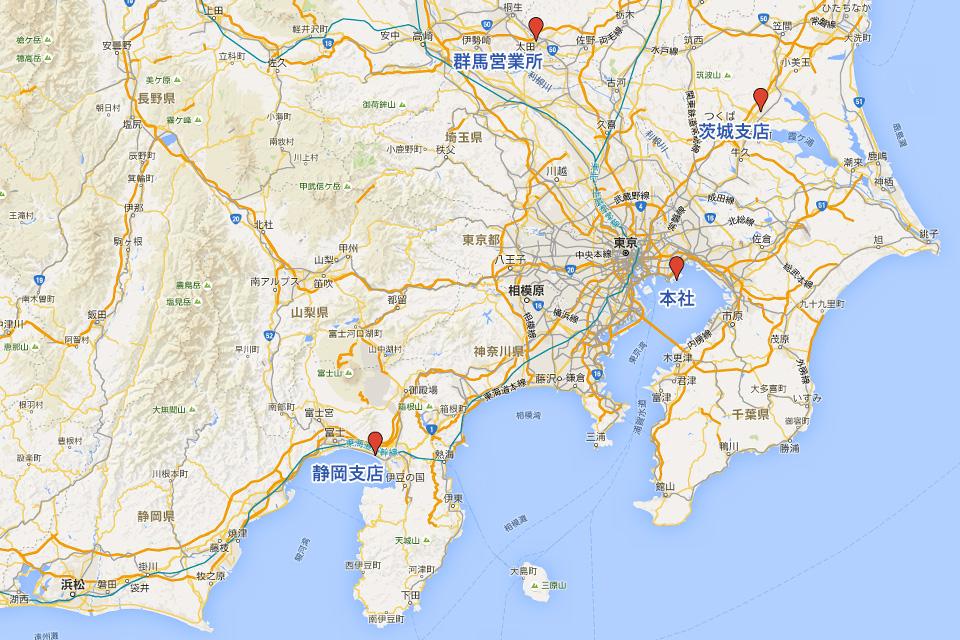 碓井鋼材株式会社 拠点地図